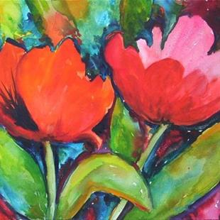 Art: Red Flowers - sold by Artist Ulrike 'Ricky' Martin