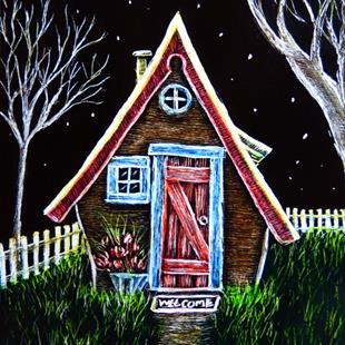 Art: Welcome Cottage  (SOLD) by Artist Monique Morin Matson