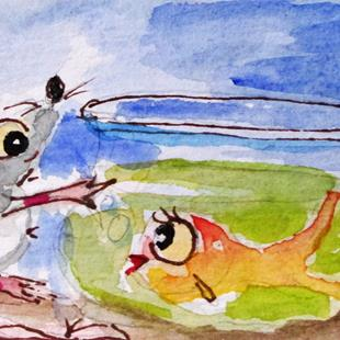 Art: Mouse and Fish Bowl by Artist Delilah Smith