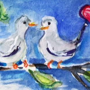 Art: Love Doves by Artist Delilah Smith