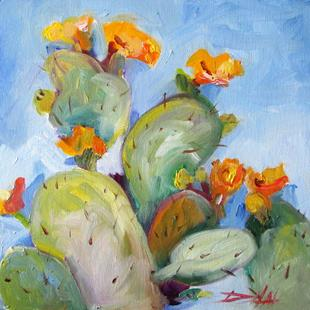 Art: Flowering Cactus by Artist Delilah Smith