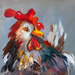Art: Rooster No. 33 by Artist Delilah Smith