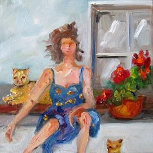 Art: Lady and Cats by Artist Delilah Smith