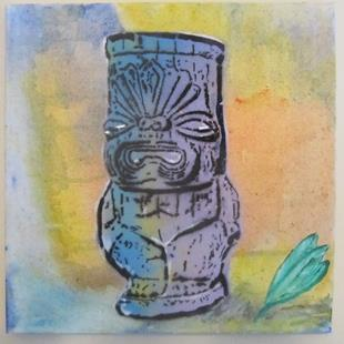 Art: Tiki Buddha Original Graffiti Pop Art by Artist Paul Lake, Lucky Studios
