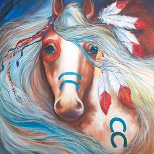 Art: INDIAN WAR HORSE FEARLESS FIVE FEATHERS by Artist Marcia Baldwin