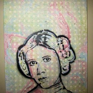 Art: Princess Leia Original Pop Graffiti Art by Artist Paul Lake, Lucky Studios