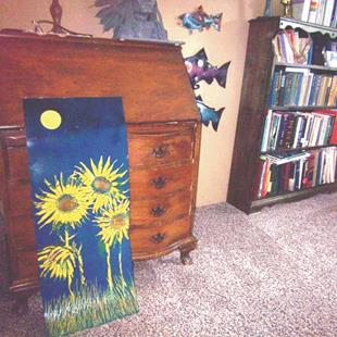 Art: Sunflower on Metal Art by Artist Leonard G. Collins