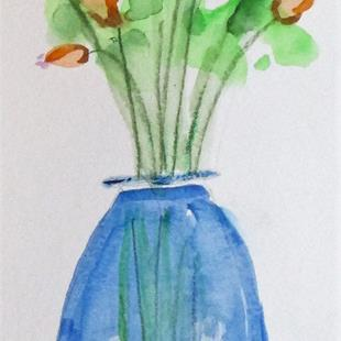 Art: Tall Vase of Flowers by Artist Delilah Smith