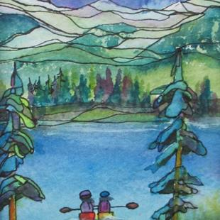 Art: Tiny Painting: Friends (sold) by Artist Kathy Crawshay