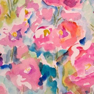 Art: Hollyhock Garden by Artist Delilah Smith