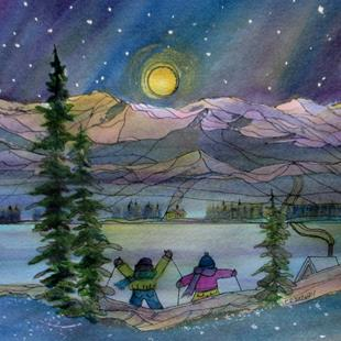 Art: Night Ski (sold) by Artist Kathy Crawshay
