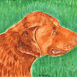 Art: Dog in Field by Artist Melinda Dalke