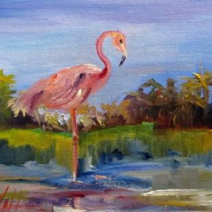 Art: Marshland Flamingo by Artist Delilah Smith