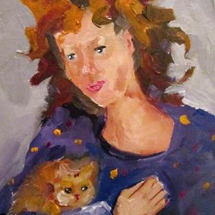 Art: Lady and Kitten by Artist Delilah Smith