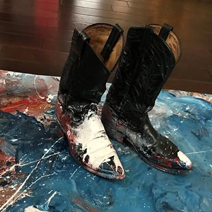 Art: Slappin Leather 3 - Close up with Boots by Artist Anthony Allegro
