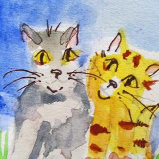 Art: Two Cats-sold by Artist Delilah Smith