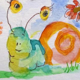 Art: Snail with Flowers by Artist Delilah Smith