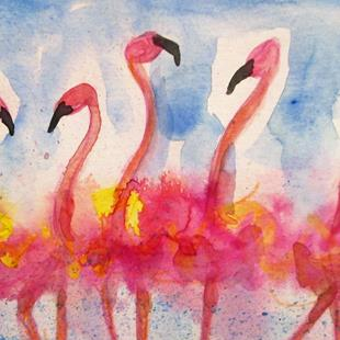 Art: Fluffy Fancy Flamingos by Artist Delilah Smith