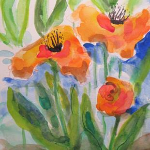 Art: Flowers in Orange by Artist Delilah Smith