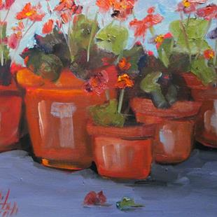 Art: Geraniums in Pots by Artist Delilah Smith