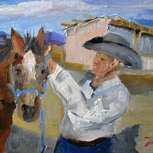 Art: Cowboy and Horse by Artist Delilah Smith