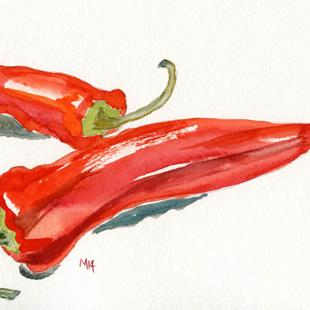 Art: Two red peppers by Artist Gabriele Maurus