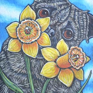 Art: Daffodils and Peeking Pug by Artist Melinda Dalke