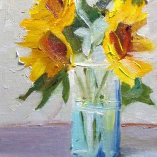 Art: Vase of Sunflowers by Artist Delilah Smith