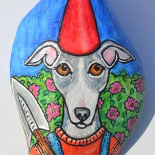 Art: Greyhound Gnome and Flower Bush by Artist Melinda Dalke