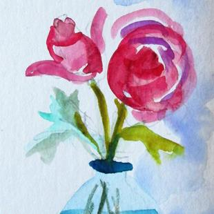 Art: Vase of Roses by Artist Delilah Smith