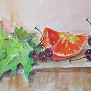 Art: Grapes and Orange Still LIfe No. 2 by Artist Delilah Smith