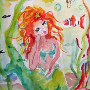 Art: Mermaid and Clown fish by Artist Delilah Smith