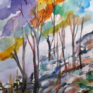 Art: Mountain Woodland by Artist Delilah Smith