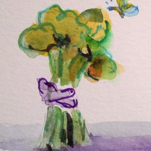 Art: Brocoli and Butterfly by Artist Delilah Smith