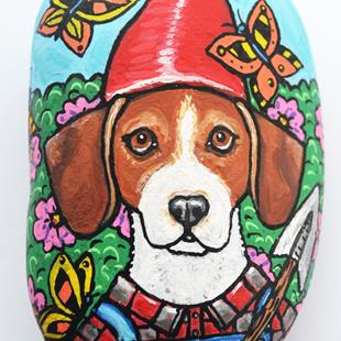 Art: Mr Butterfly Beagle Gnome 1.jpg by Artist Melinda Dalke