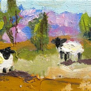 Art: Aceo Sheep in the Landscape by Artist Delilah Smith