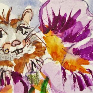 Art: Flower and Mouse by Artist Delilah Smith