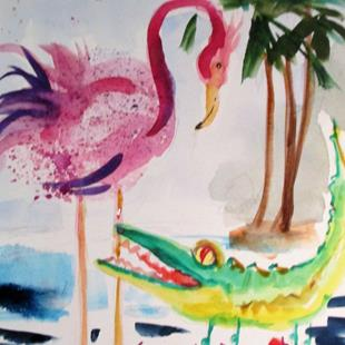 Art: Flamingo and Aligator by Artist Delilah Smith