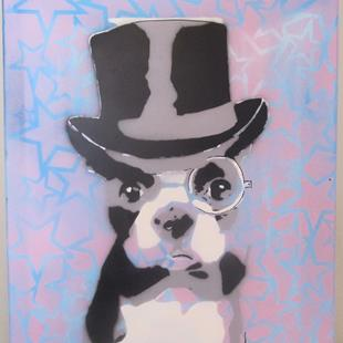 Art: Top Hat Bull Dog Original Graffiti Pop Art by Artist Paul Lake, Lucky Studios
