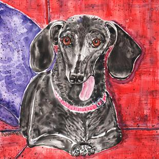 Art: Fudge and the Purple Pillow by Artist Melinda Dalke