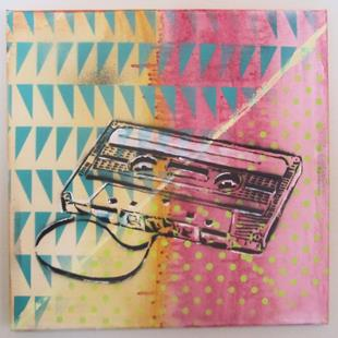 Art: 80s cassette tape Original Pop Graffiti Art by Artist Paul Lake, Lucky Studios