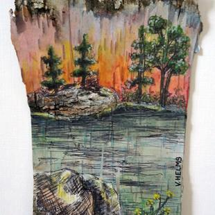 Art: Trees on Birch Bark by Artist Vicky Helms