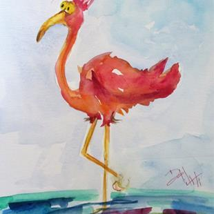 Art: Big Eyed Flamingo by Artist Delilah Smith