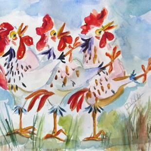 Art: Conga Chickens No. 4 by Artist Delilah Smith