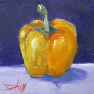 Art: Yellow Pepper on Purple by Artist Delilah Smith