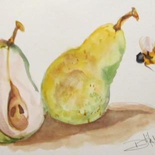 Art: Pears and Bee by Artist Delilah Smith