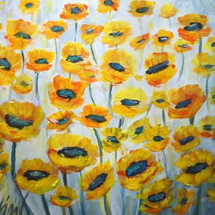 Art: YELLOW MIST FLOWERS by Artist LUIZA VIZOLI