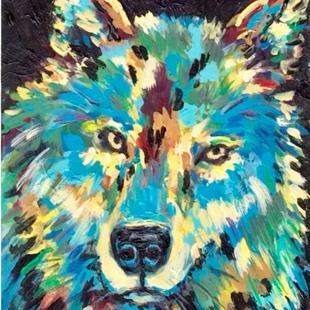 Art: Abstract Wolf Portrait - sold by Artist Ulrike 'Ricky' Martin