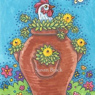 Art: HEN AND CHICKS by Artist Susan Brack