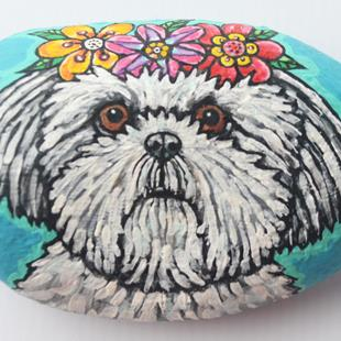 Art: Flower Girl Shih Tzu Rock by Artist Melinda Dalke